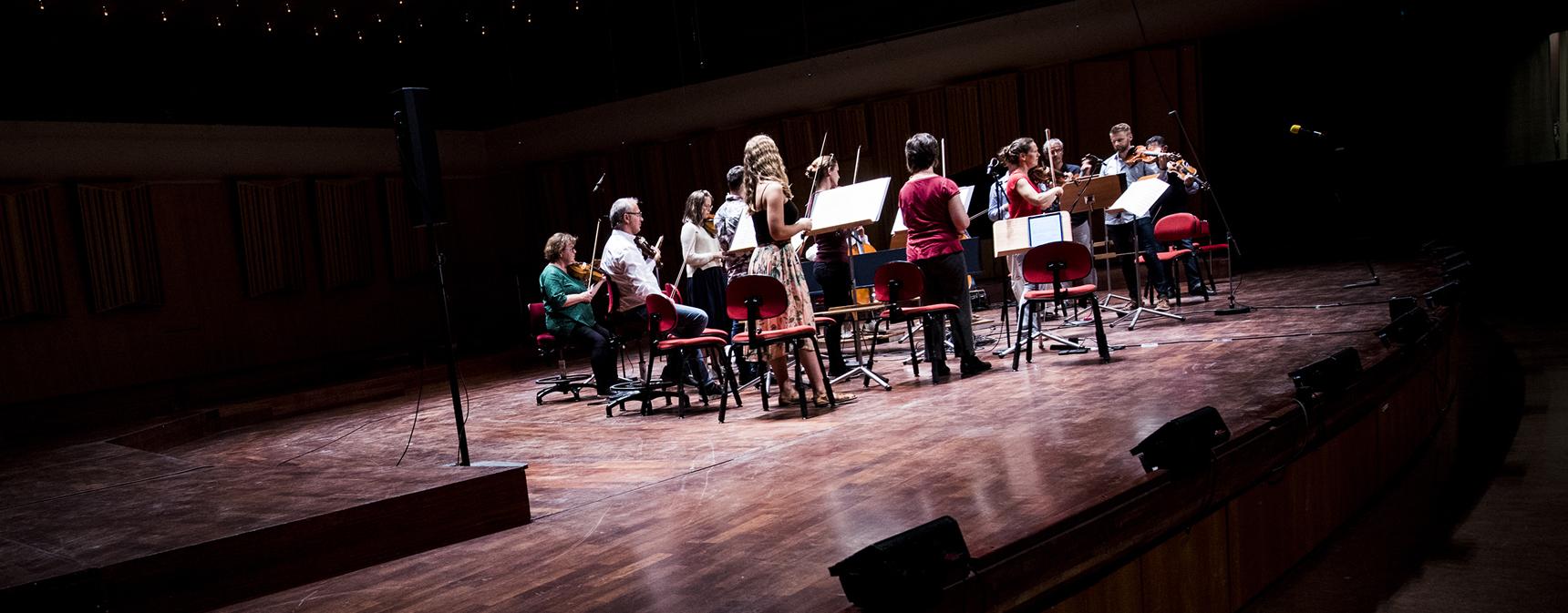 Alla orkestermedlemmar i Musica Vitae, samt Malin Broman, står på en scen